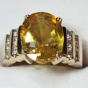 Stunning Estate 7.34 Carat Golden Sapphire & Diamond Ring