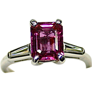 Ladies Spectacular Estate Platinum Ring with 2.29 Carat Natural Pink Sapphire and Diamond Accents