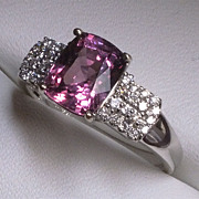 Amazing 18 Karat White Gold Burma Pink Spinel & Diamond Ring