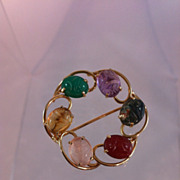 Scarab and 14k Gold Brooch
