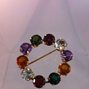 Multi Colored Stone and 14k Gold Brooch