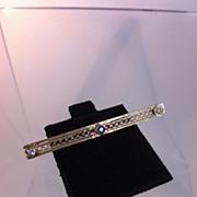 Edwardian Era 14k Gold, Diamond and Sapphire Bar Pin