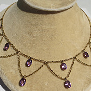 Antique Festooned Amethyst Necklace with Original Chain and Clasp in 14 Karat Yellow Gold