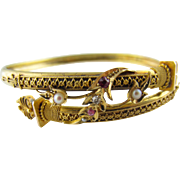 Victorian Bangle Bracelet with Diamond, Rubies and Pearls in 14 Karat Gold