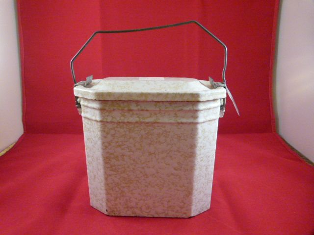 French Enamelware Lunch Pail Mottled Yellow