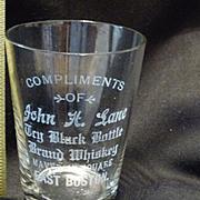 Vintage Whiskey Glass Black Bottle Brand John Lane East Boston