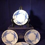 4 Flow Blue Daisy Butter Pats England c. 1896