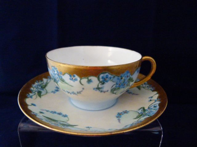 T & V Limoges Hand Painted Cup and Saucer c.1892-1917