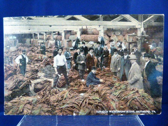 Tobacco Warehouse Scene, Richmond VA  1917 Post Card