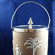 Wedgwood Lilac Jasperware Dipped Biscuit Barrel c. 1890