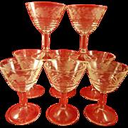 Set of 8 Vintage Etched Glass Sherbet or Cocktail Stems