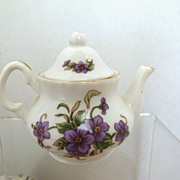 "Lefton China 3"" Teapot Violets 1997 #11113"