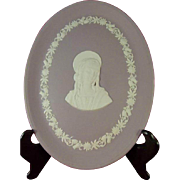 Wedgwood Lilac Jasper Ware Virgin Mary Madonna Wall Hanging Oval Plaque 1962