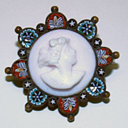 Early XXth Cent. Micro Mosaic Brooch with Angel Skin Coral Cameo High Rarity