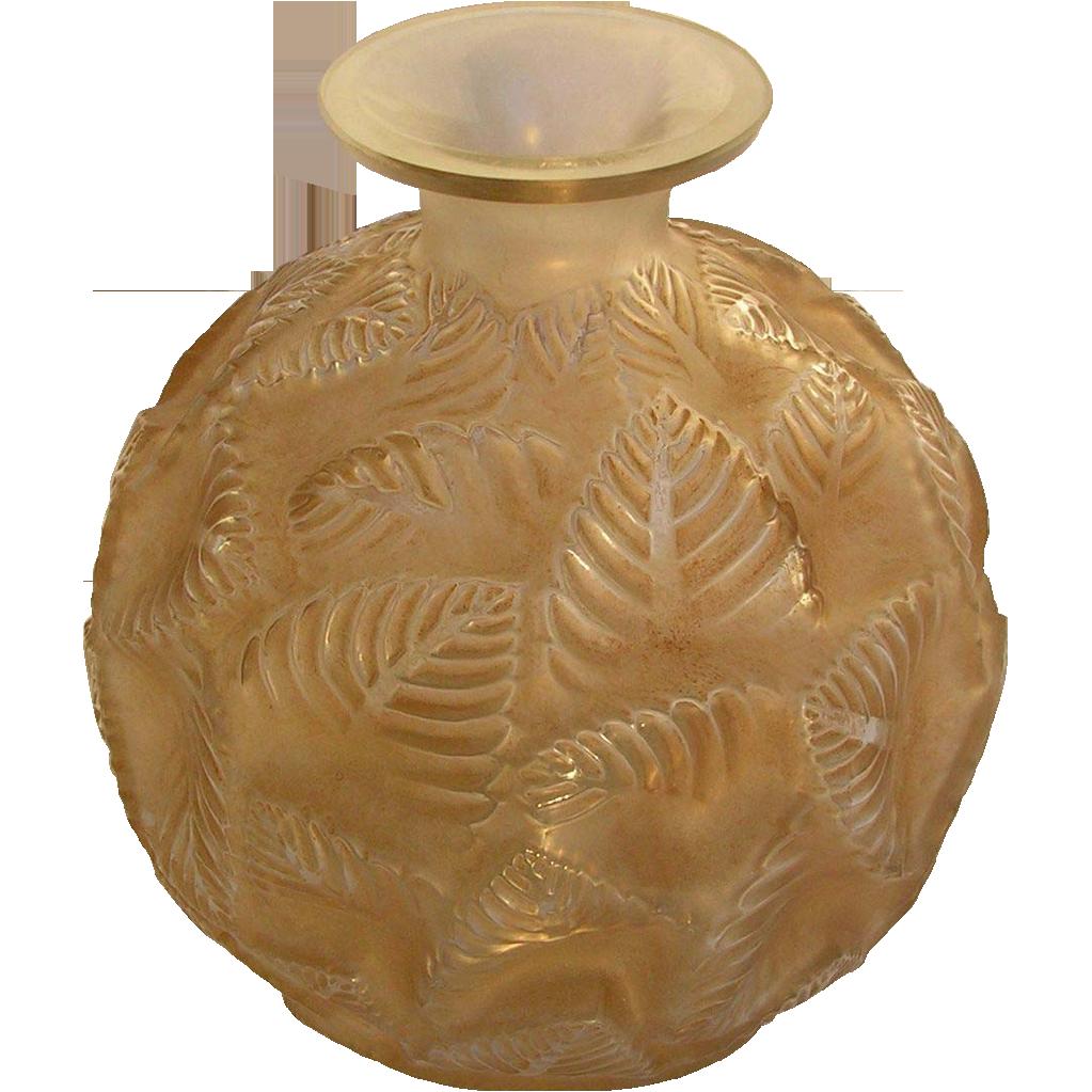 **SALE!**  R. Lalique 'Ormeaux'  Art Glass Vase-Sepia Patina-c. 1926