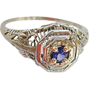 Edwardian/Art Deco 14K Sapphire Ring c. 1910-1915