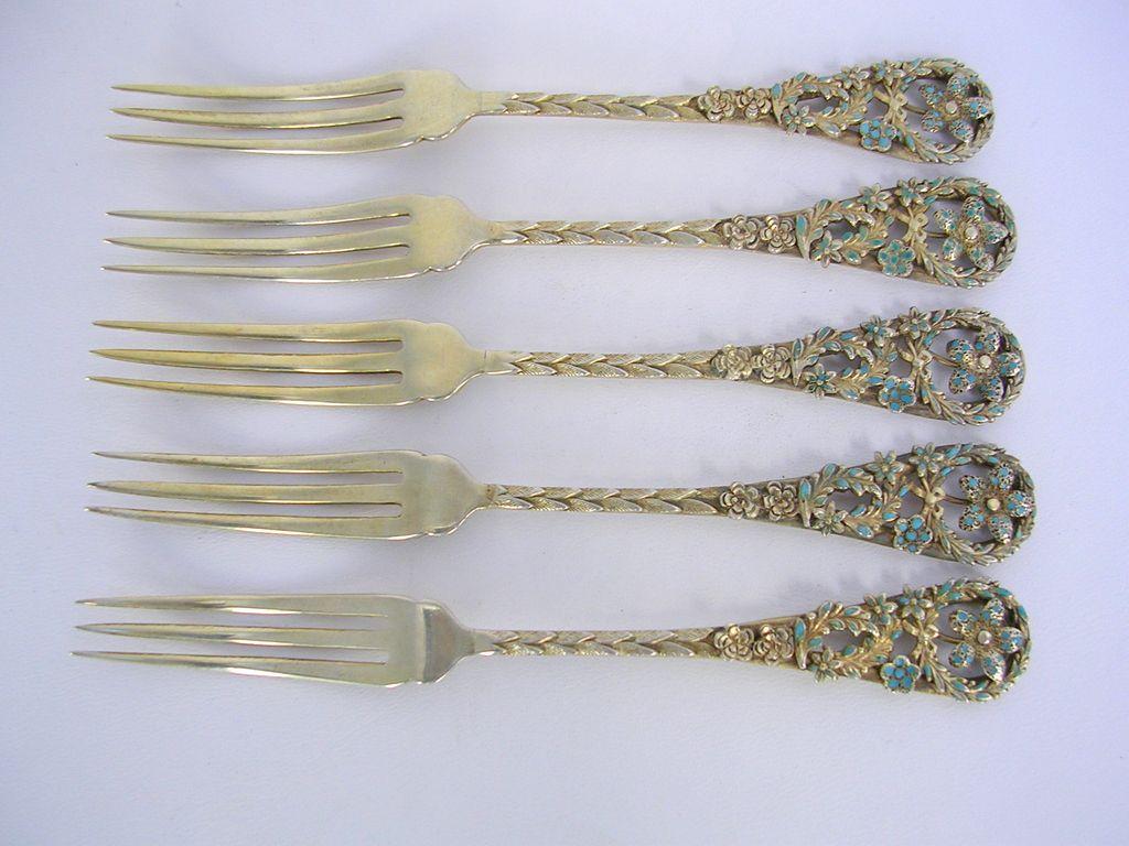 Set of 5 Sterling & Enamel Strawberry Forks c.1895