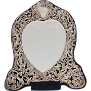 Large Heart Shaped Sterling Easel Back Dressing Mirror c. 1907