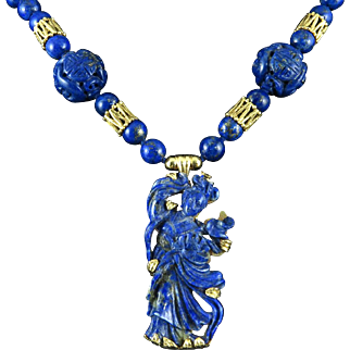 Chinese Carved Kwan Yin Lapis 14K Necklace Masterpiece