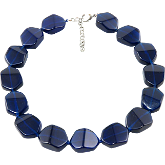 Large Cobalt Glass Bead Necklace 19""