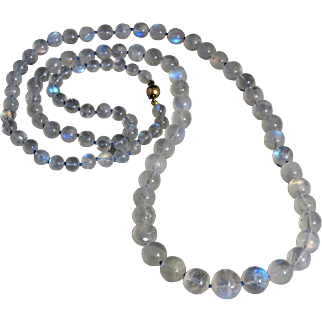 Incredible Rainbow Moonstone with Superb Flash and 14K Necklace 31""