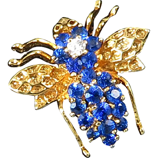 Sparkling Blue Spinel (Lab) and Vermeil Bug Pin