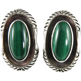Navajo Sterling and Malachite Earrings Signed