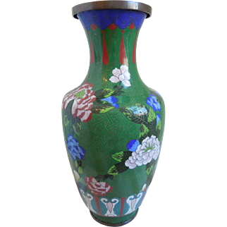 Large Chinese Cloisonne Multi-Colored Vase With Floral Design, 1920's