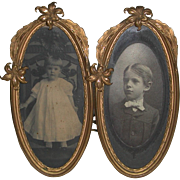 Art Nouveau Gilt Double Oval Photo Frame Easel Stands Victorian Children
