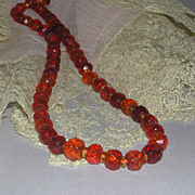 Egg Yolk Honey Butterscotch Cherry Faceted Amber Necklace early 1900s