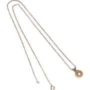 Cultured Pearl Drop Pendant 14k Yellow Gold Chain Necklace marked