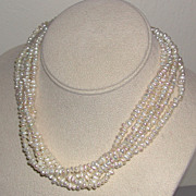 Five Strand Freshwater Cultured Pearl Choker Necklace c. 1950/60s