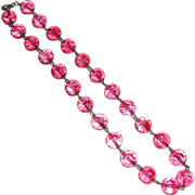 Vintage Translucent Cranberry Glass Faceted Bead Choker Necklace Brass Wire