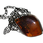 """Vintage Large Butterscotch Amber Pendant Necklace Pin Brooch Sterling Chain 29"""" marked"""
