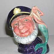 Royal Doulton  Character Jug Old Salt with Mermaid Small Figure D6554 marked 1960