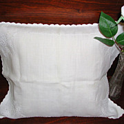 Vintage Early Baby Carriage Sham Boudoir Pillow White on White Embroidered Cutwork