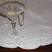 White on White Embroidered Nouveau Design Linen Centerpiece Cloth