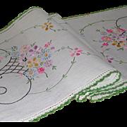 Vintage Embroidered Linen Rectangular Runner Scarf Basket Design