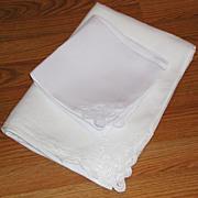 White Belgian Linen Battenburg Lace Rectangular Large Tablecloth Set 10 Napkins