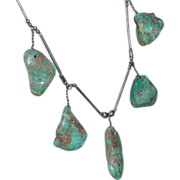 Five Nuggets Turquoise Sterling Native American Necklace