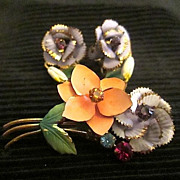Austrian Enamel Floral Crystal Bouquet Brooch/Pin Earrings