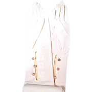 Lovely Vintage Opera-Length Formal Muskeeteer-Gloves by WELLS in Original Pouch - 1950s Japan