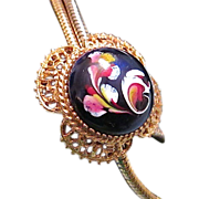 Fab FLORENZA Artsy Glass Cabochon Bolo Lariat Necklace - 1948-1981