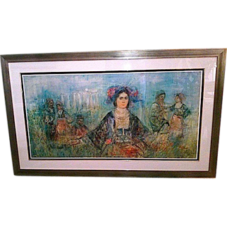 """REDUCED Signed HIBEL (Edna Hibel 1917-2014) """"Greece"""" - 35"""" x 60"""" Lithograph On Silk Limited Edition"""