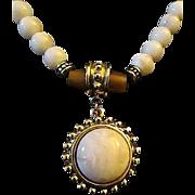 Vintage NAPIER Beaded Cabochon Dangle Pendant Necklace - Free Shipping!
