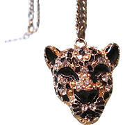 Free Ship! Exotic Encrusted Black Enamel Panther Head Pendant Necklace