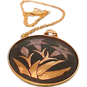 Free Ship! AMITA Damascene Pendant Necklace Depicting Orchid Floral - Stems - Leaves ~ Japan