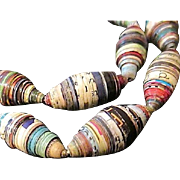 """Colorful Paper Bead 25"""" Long Necklace"""