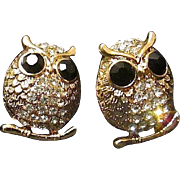 Free Ship! Paved AB Rhinestone Perched Owl Post Earrings