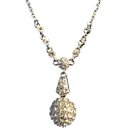 FREE SHIP ~ Signed GIVENCHY Clear AB Crystal Rhinestone Pave Ball Necklace